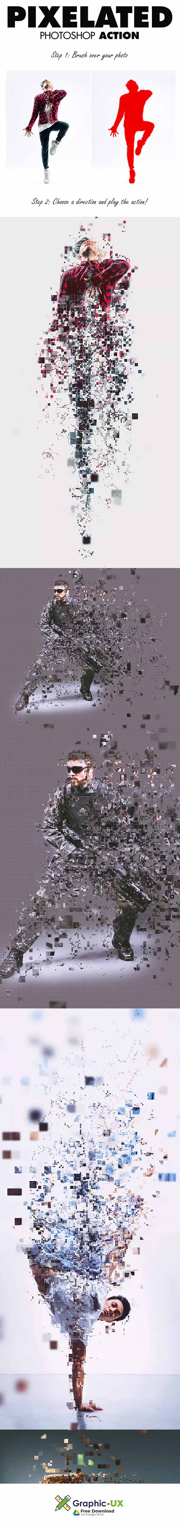 Pixelated Photoshop Action free download – GraphicUX