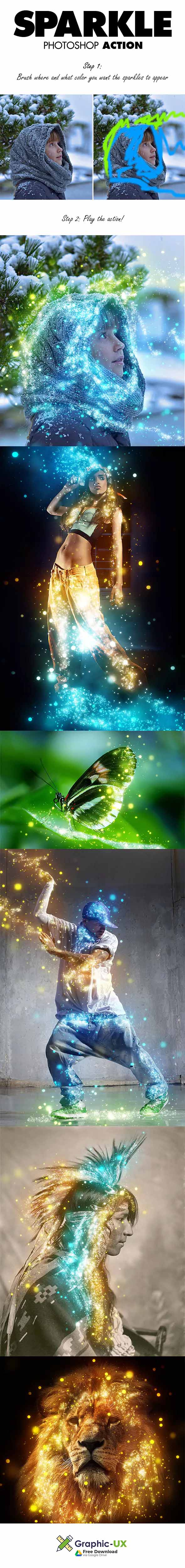 Sparkle Photoshop Action free download – GraphicUX