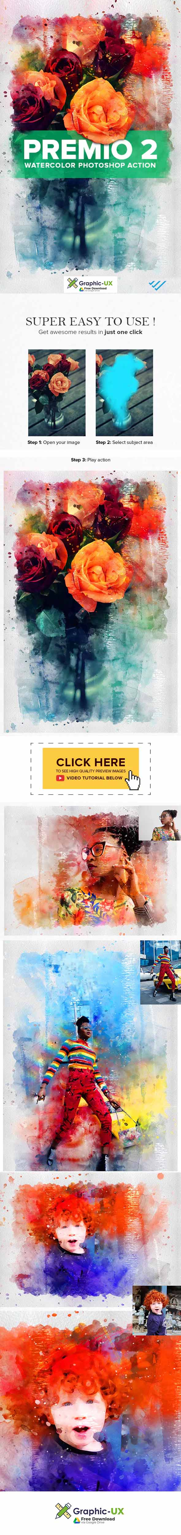 Premio 2 Watercolor Photoshop Action free – GraphicUX