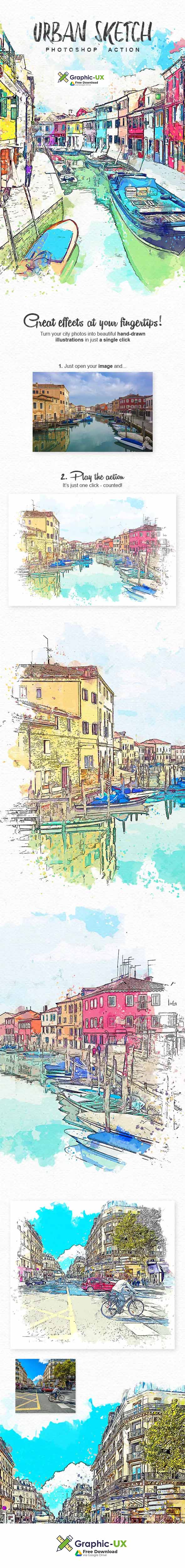 Urban Sketch Photoshop Action free download – GraphicUX