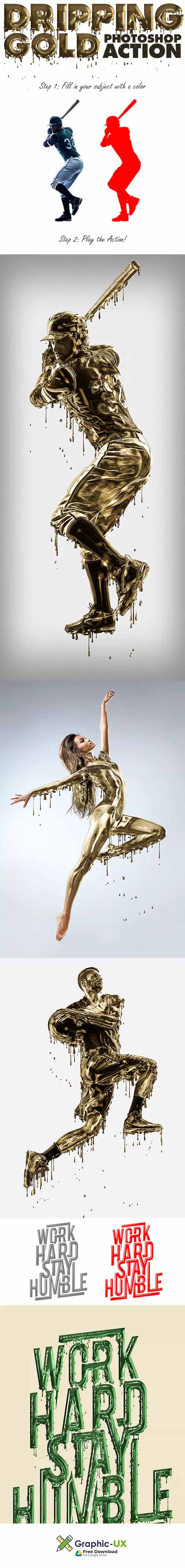 dripping gold photoshop action free download