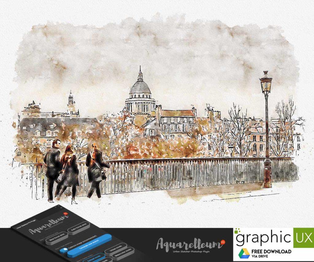 Aquarelleum - Urban Sketcher Photoshop Plugin free download