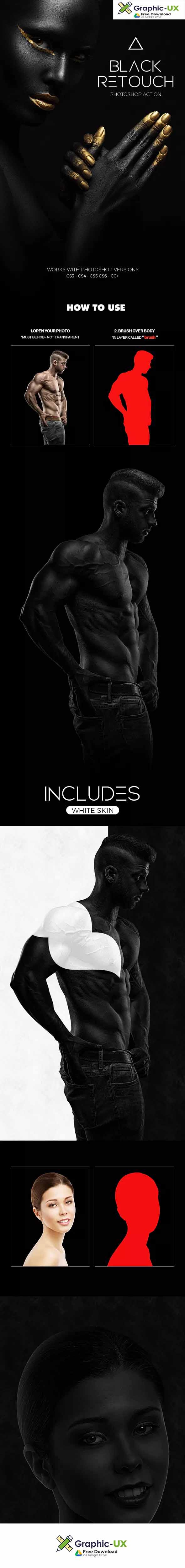 Black white retouch photoshop action graphicux