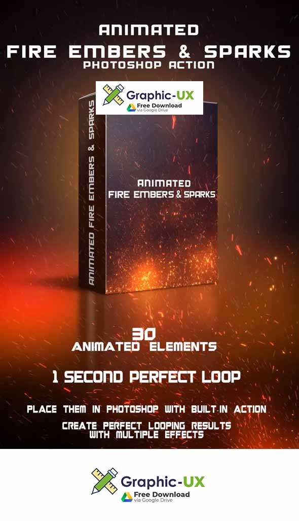 Animated Fire Embers & Sparks Photoshop Action – GraphicUX