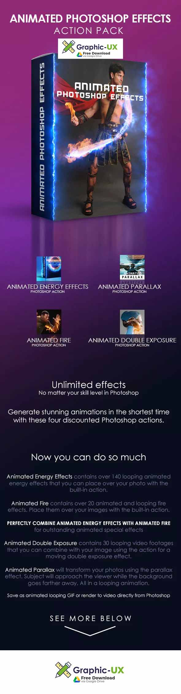 Animated Photoshop Effects Action Pack – GraphicUX