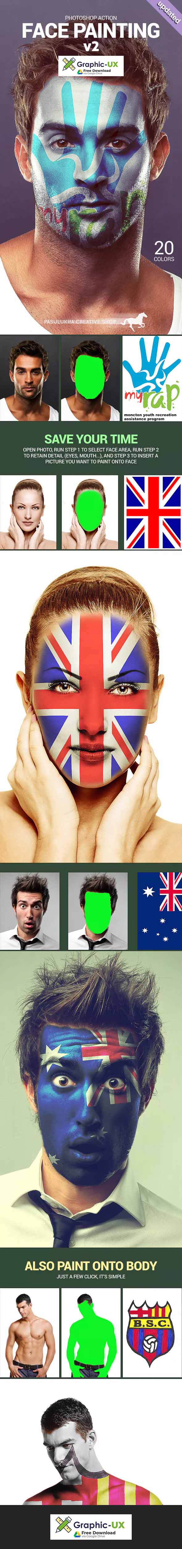 face painting photoshop action free download – GraphicUX