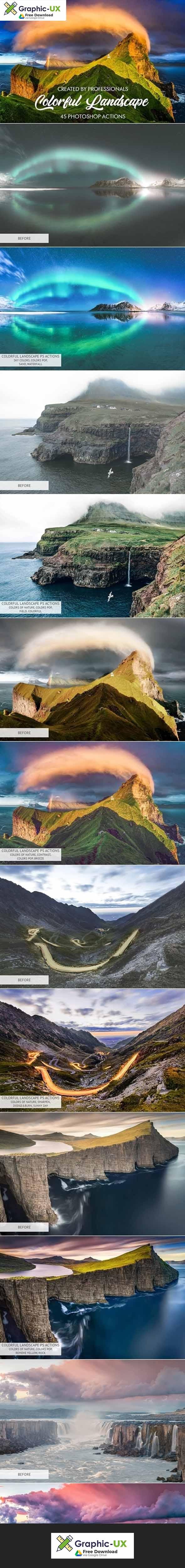 Colorful Landscape Photoshop Actions Free Graphicux