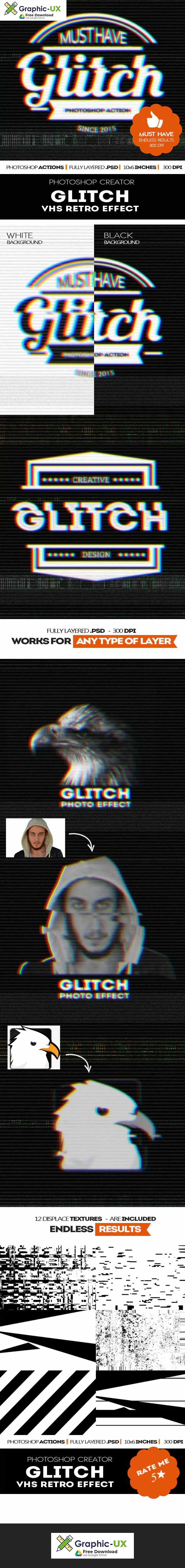 Glitch VHS Corrupt Image Effect Photoshop Actions free