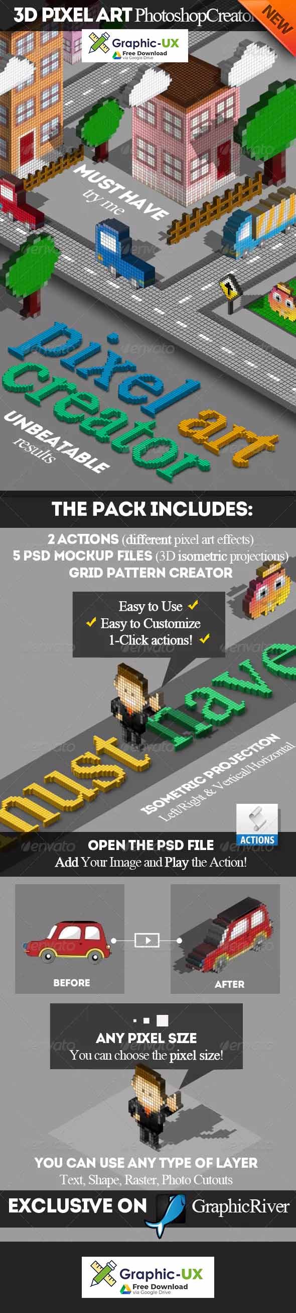 3D Pixel Art Photoshop Creator free download – GraphicUX