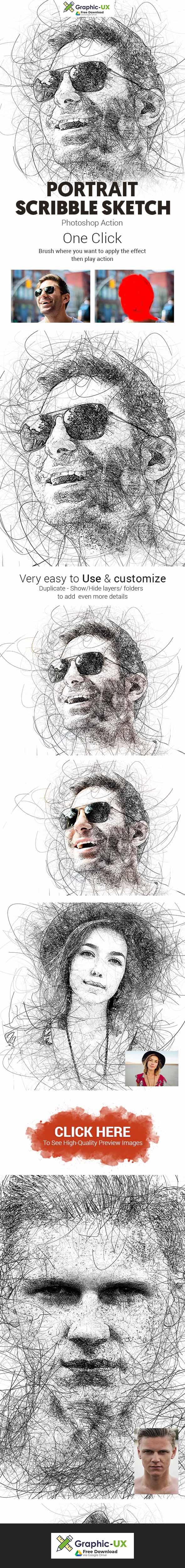 Portrait Scribble Sketch Art Photoshop Action free download