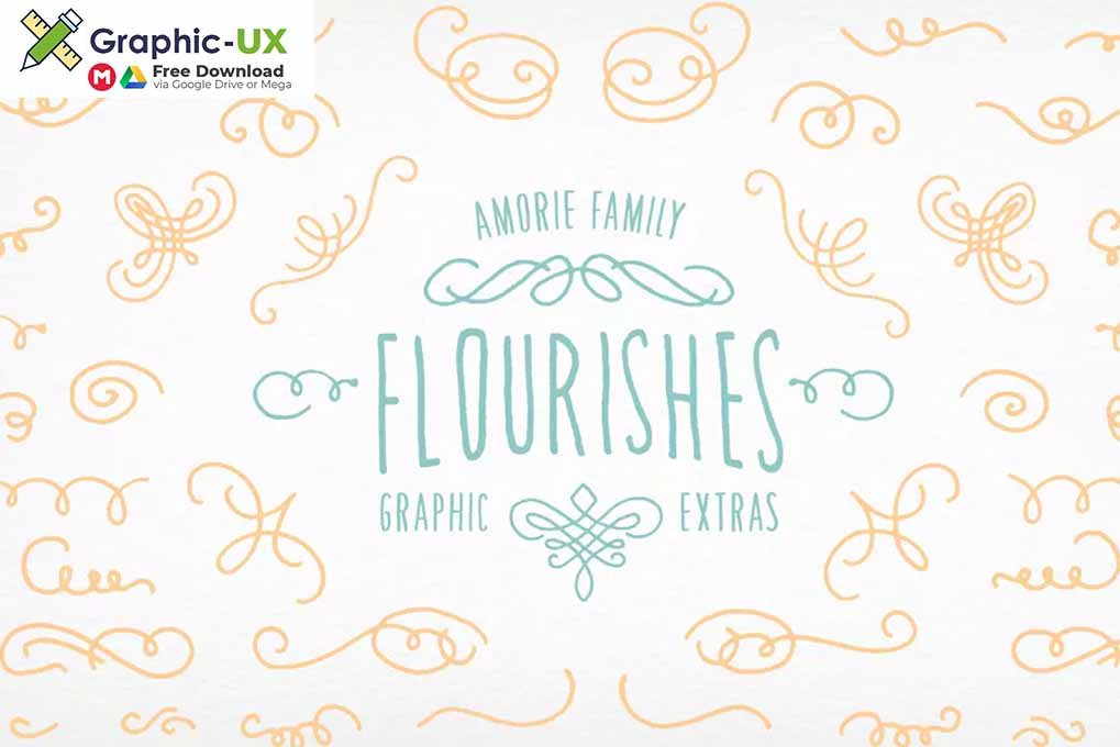 Amorie Font Elements - Flourishes