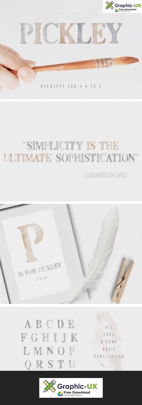 Pickley - Watercolor opentype SVG Font