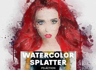 Watercolor Splatter Photoshop Action