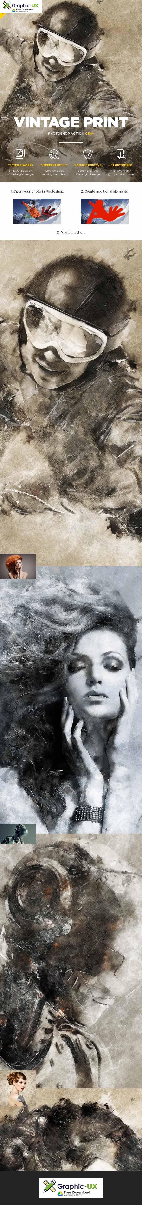 Vintage Print CS4+ Photoshop Action