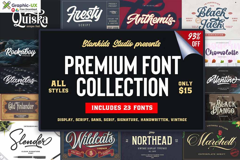 MightyDeals 23 Premium Fonts from Blankids Studio