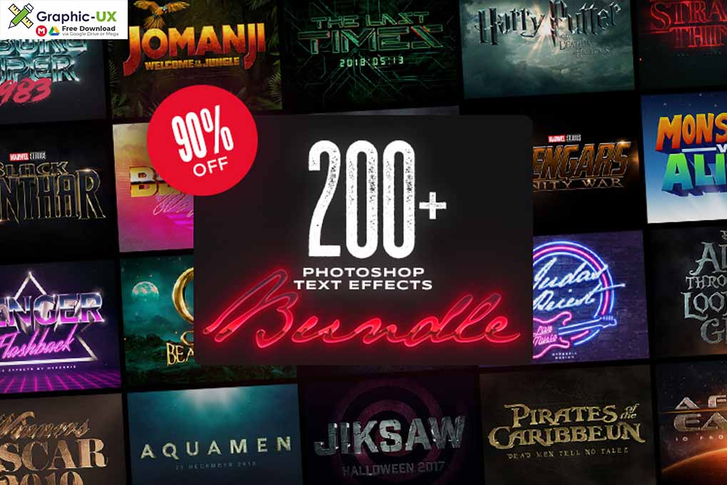 200+ Photoshop Text Effects Bundle
