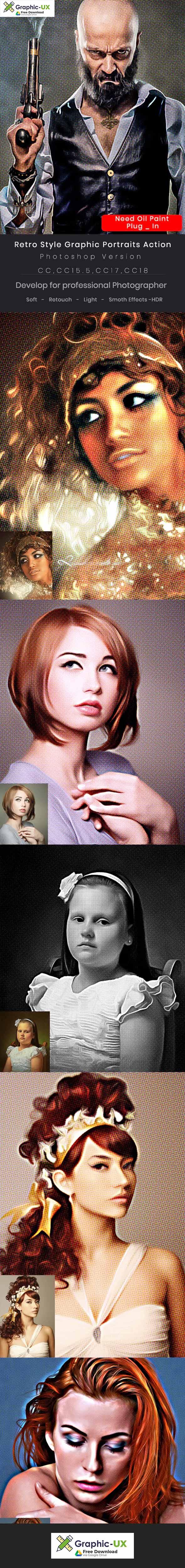 Retro Style Graphic Portraits Action