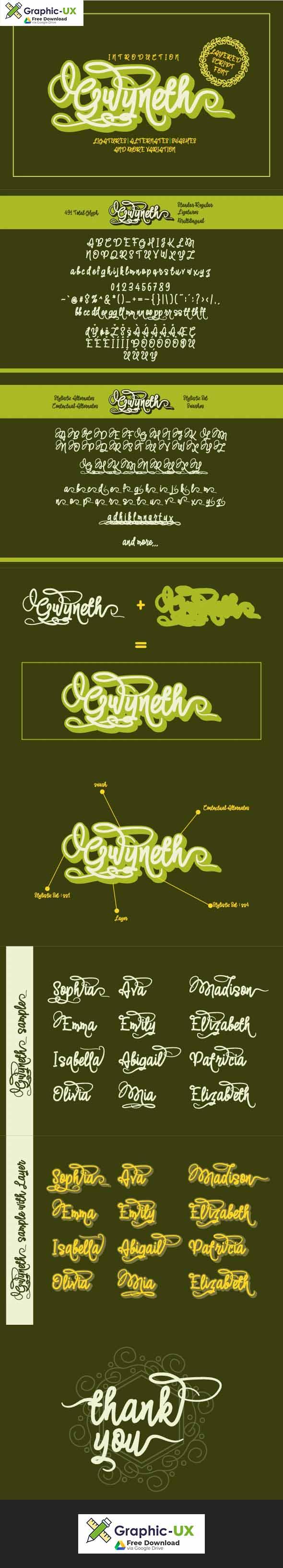 Gwyneth  modern script layered font