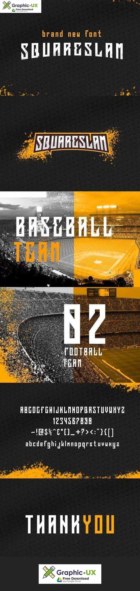 Squareslam sports and esports font