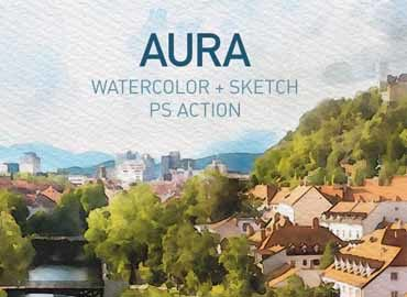 AURA | Watercolor Sketch Photoshop Action