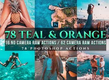 72 PRO Orange & Teal Photoshop Actions
