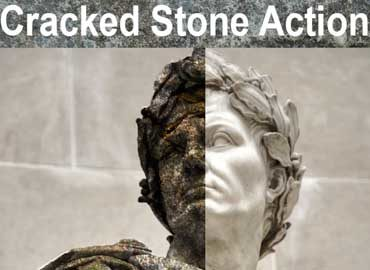 Cracked Stone Photoshop Action Vol 3
