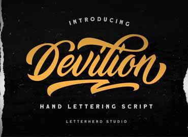 Devilion - Hand Lettering Script Devilion - Hand Lettering Script by Letterhend Studio in Fonts Desktop License × 1 $16 Devilion - Hand Lettering Script Font