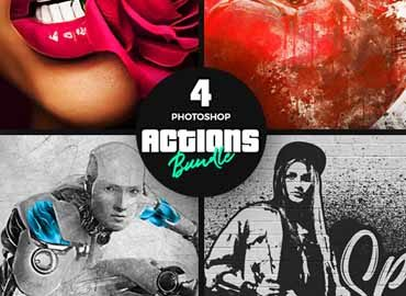 4 Photoshop Actions Bundle - Nov19