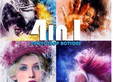 4 in 1 GM Photoshop Action Bundle