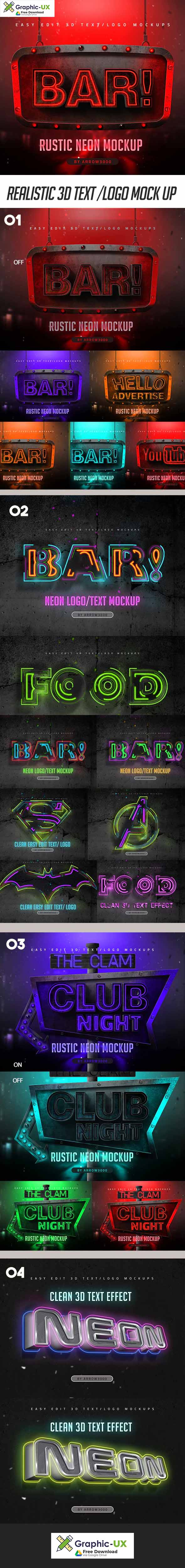 3D Text/ Logo Mockup- Neon Pack