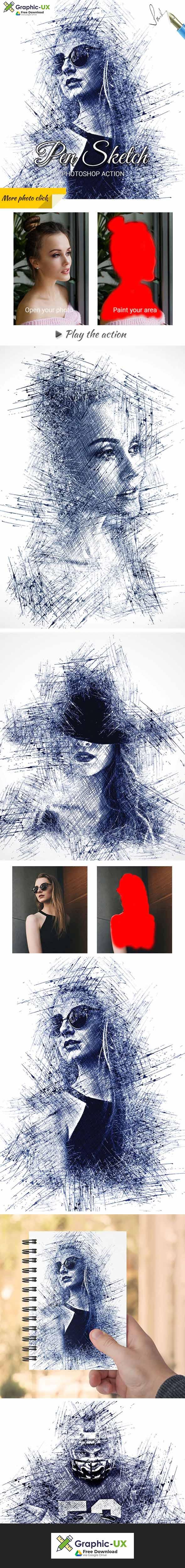 Pen Sketch Photoshop Action