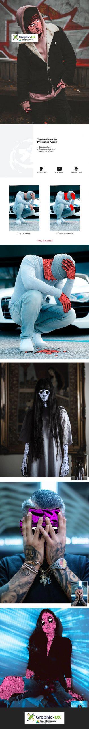 Zombie Grime Art Photoshop Action