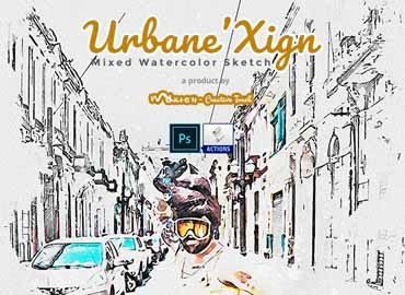 UrbaneXign - Mixed Watercolor Sketch | PS Action